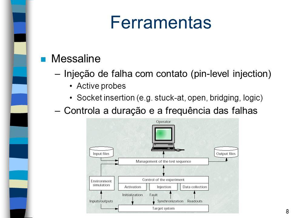 Ferramentas n Messaline –Injeção de falha com contato (pin-level injection) Active probes Socket insertion (e.g. stuck-at, open, bridging, logic) –Con