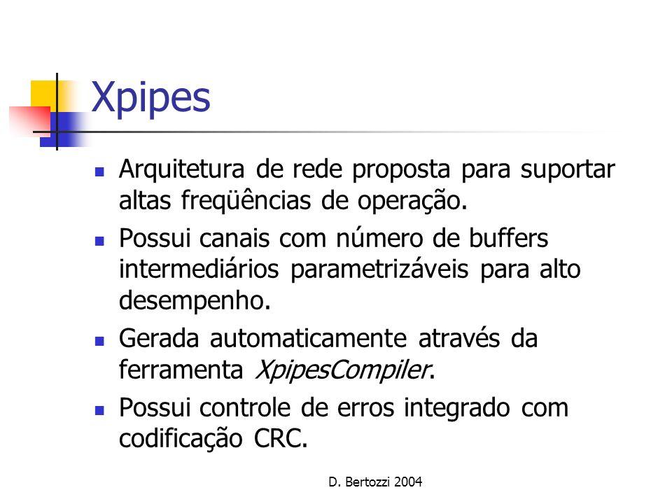 Xpipes Arquitetura de rede proposta para suportar altas freqüências de operação. Possui canais com número de buffers intermediários parametrizáveis pa
