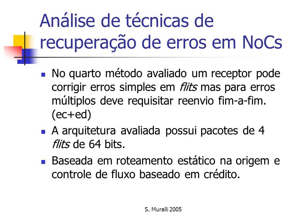 Análise de técnicas de recuperação de erros em NoCs No quarto método avaliado um receptor pode corrigir erros simples em flits mas para erros múltiplo
