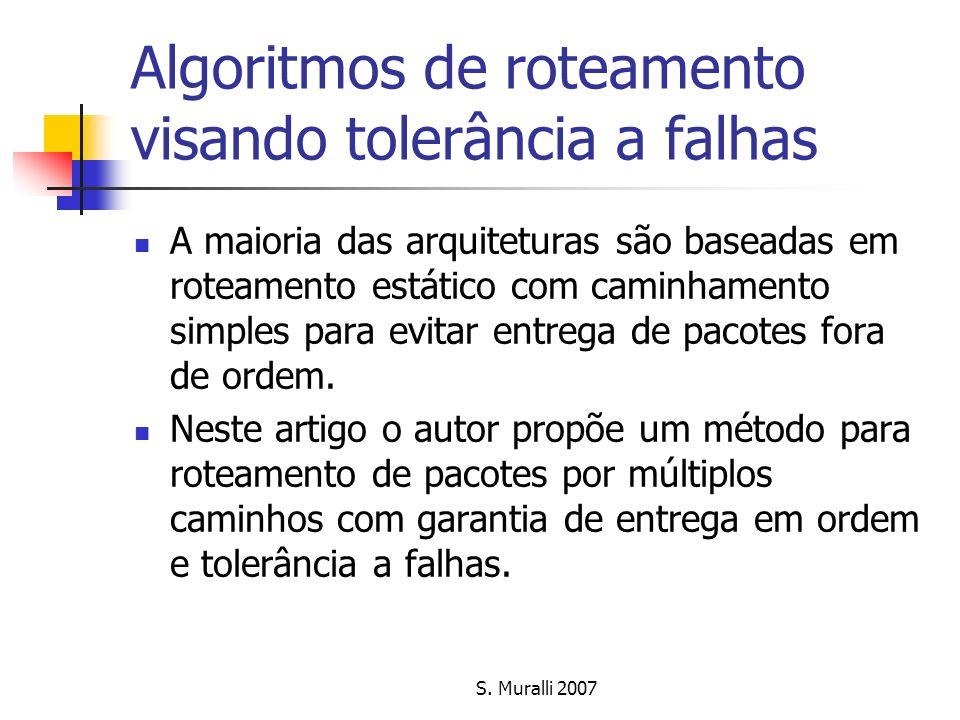 Algoritmos de roteamento visando tolerância a falhas A maioria das arquiteturas são baseadas em roteamento estático com caminhamento simples para evit