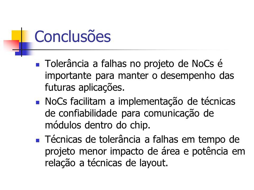 Conclusões Tolerância a falhas no projeto de NoCs é importante para manter o desempenho das futuras aplicações. NoCs facilitam a implementação de técn