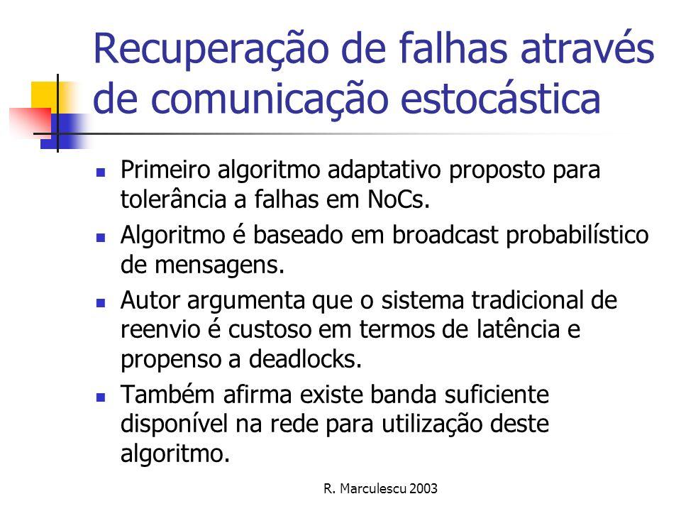 Recuperação de falhas através de comunicação estocástica Primeiro algoritmo adaptativo proposto para tolerância a falhas em NoCs. Algoritmo é baseado