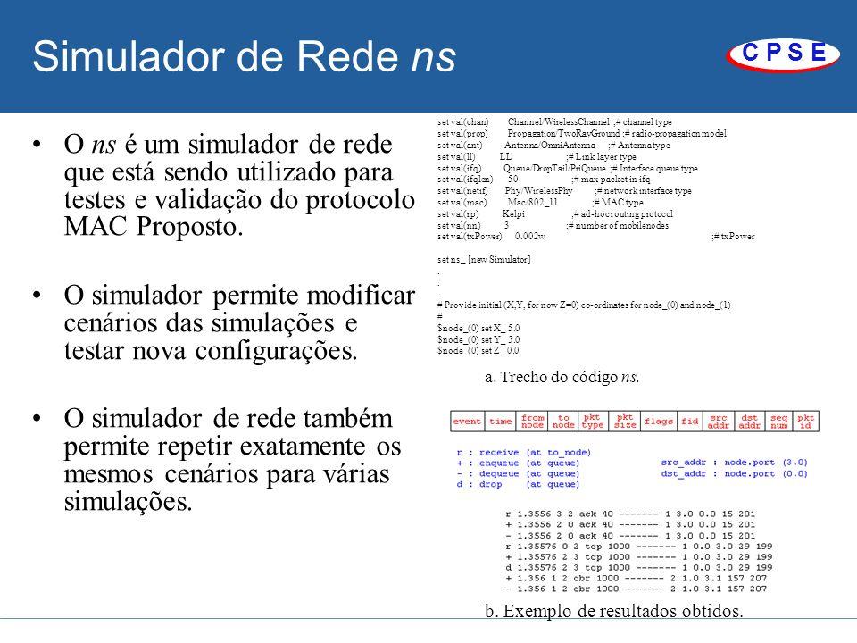 C P S E Simulador de Rede ns O ns é um simulador de rede que está sendo utilizado para testes e validação do protocolo MAC Proposto. O simulador permi