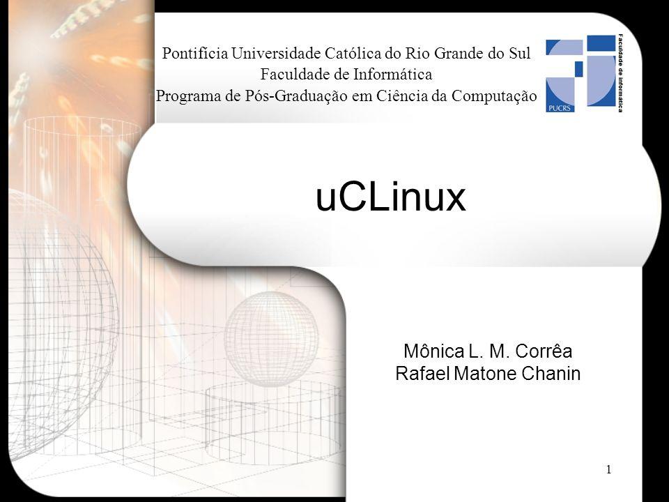 2 Agenda Introdução Unidade de Gerenciamento de Memória (MMU) Alocação de memória do uCLinux Diferenças entre Linux e uCLinux Desenvolvendo aplicações Utilização do uCLinux uCLinux no kernel 2.6 Plataformas suportadas Conclusão Referências Bibliográficas