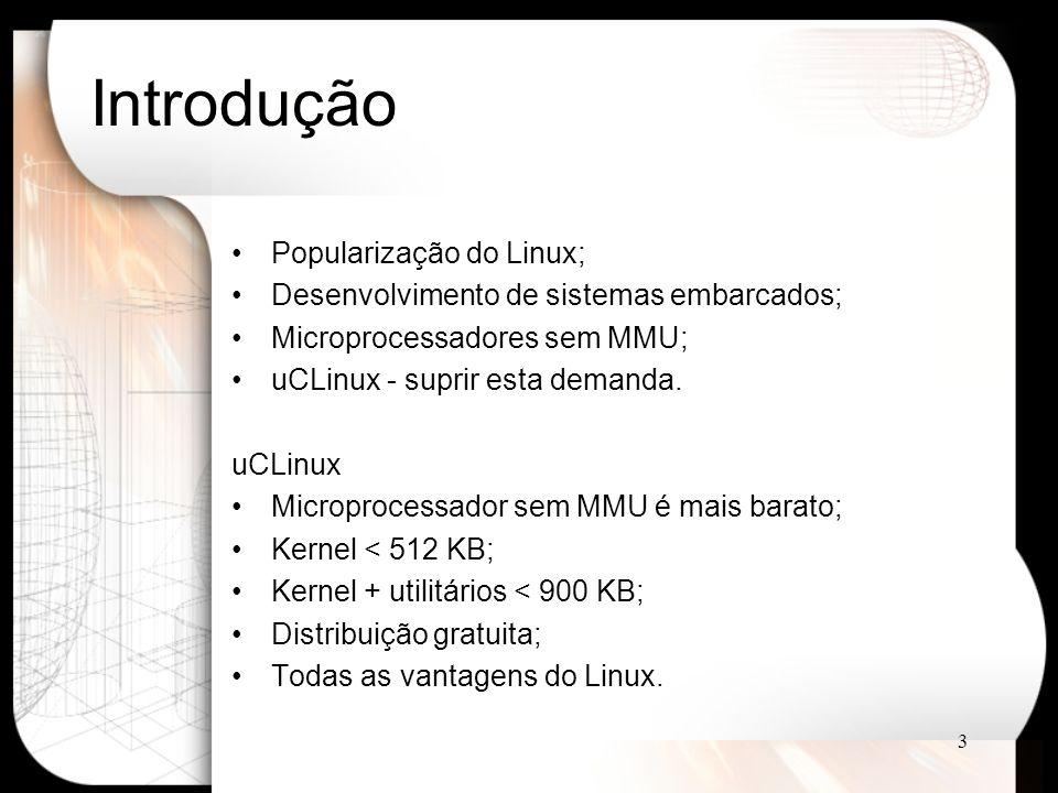 3 Introdução Popularização do Linux; Desenvolvimento de sistemas embarcados; Microprocessadores sem MMU; uCLinux - suprir esta demanda.