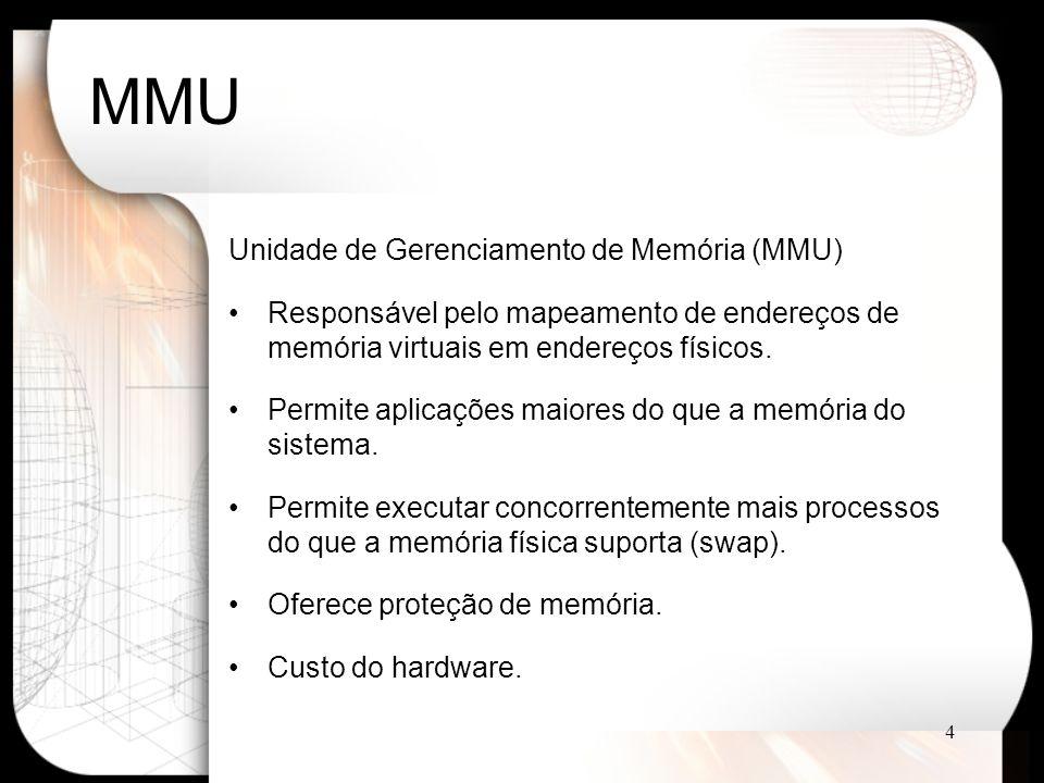 5 MMU CPU MMU Memória Barramento MMU envia endereço físico para memória CPU envia o endereço virtual para MMU