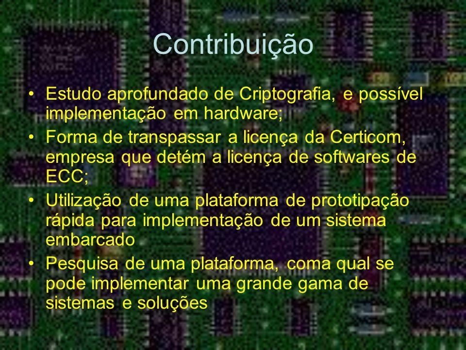 Contribuição Estudo aprofundado de Criptografia, e possível implementação em hardware; Forma de transpassar a licença da Certicom, empresa que detém a