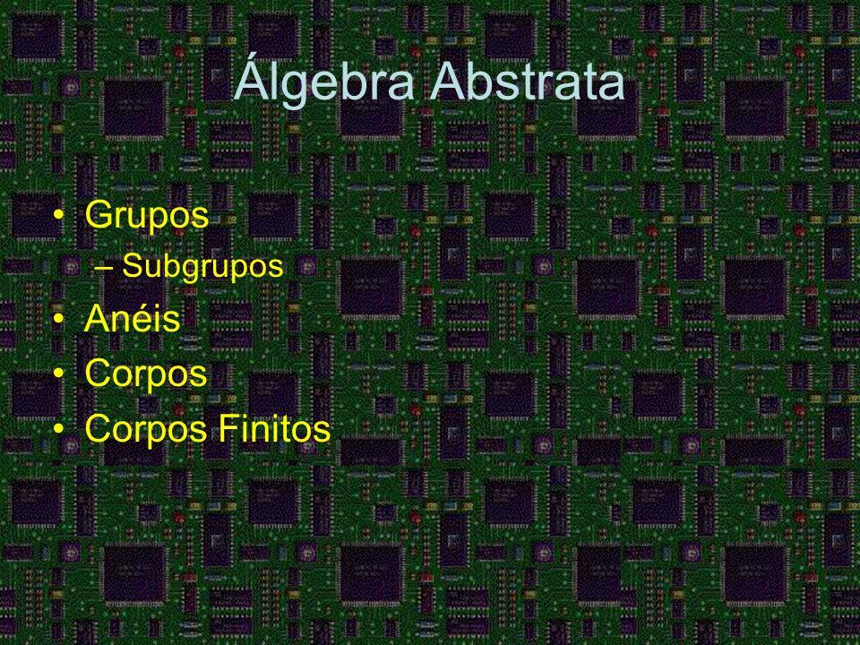 Álgebra Abstrata Grupos –Subgrupos Anéis Corpos Corpos Finitos