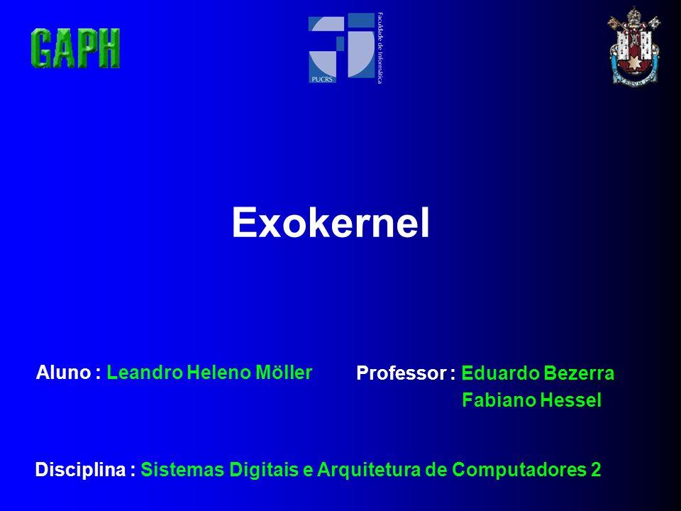 Exokernel Aluno : Leandro Heleno Möller Professor : Eduardo Bezerra Fabiano Hessel Disciplina : Sistemas Digitais e Arquitetura de Computadores 2
