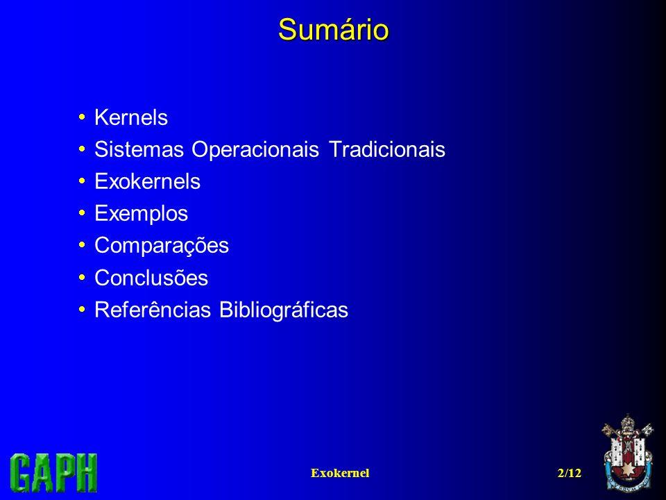 2/12Exokernel Sumário Kernels Sistemas Operacionais Tradicionais Exokernels Exemplos Comparações Conclusões Referências Bibliográficas