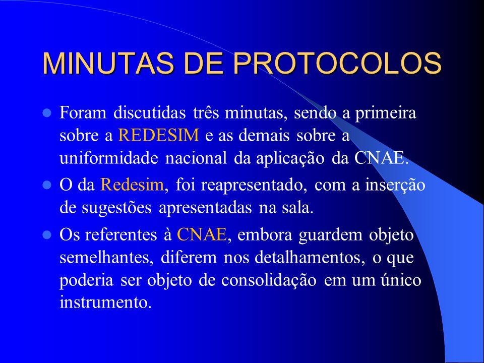 MINUTAS DE PROTOCOLOS Foram discutidas três minutas, sendo a primeira sobre a REDESIM e as demais sobre a uniformidade nacional da aplicação da CNAE.