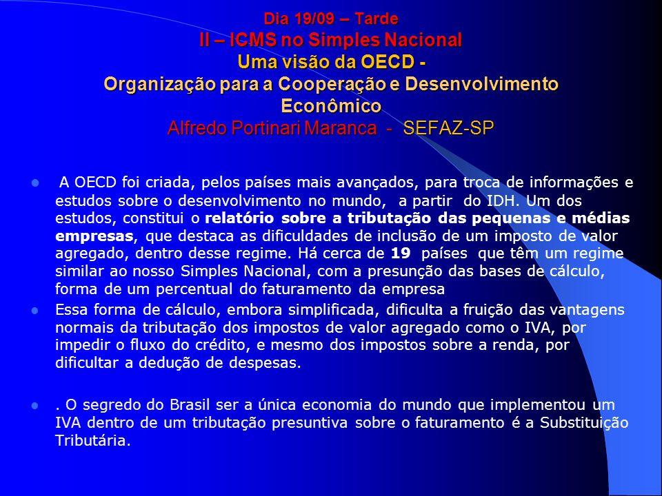 Dia 19/09 – Tarde II – ICMS no Simples Nacional Uma visão da OECD - Organização para a Cooperação e Desenvolvimento Econômico Alfredo Portinari Maranc