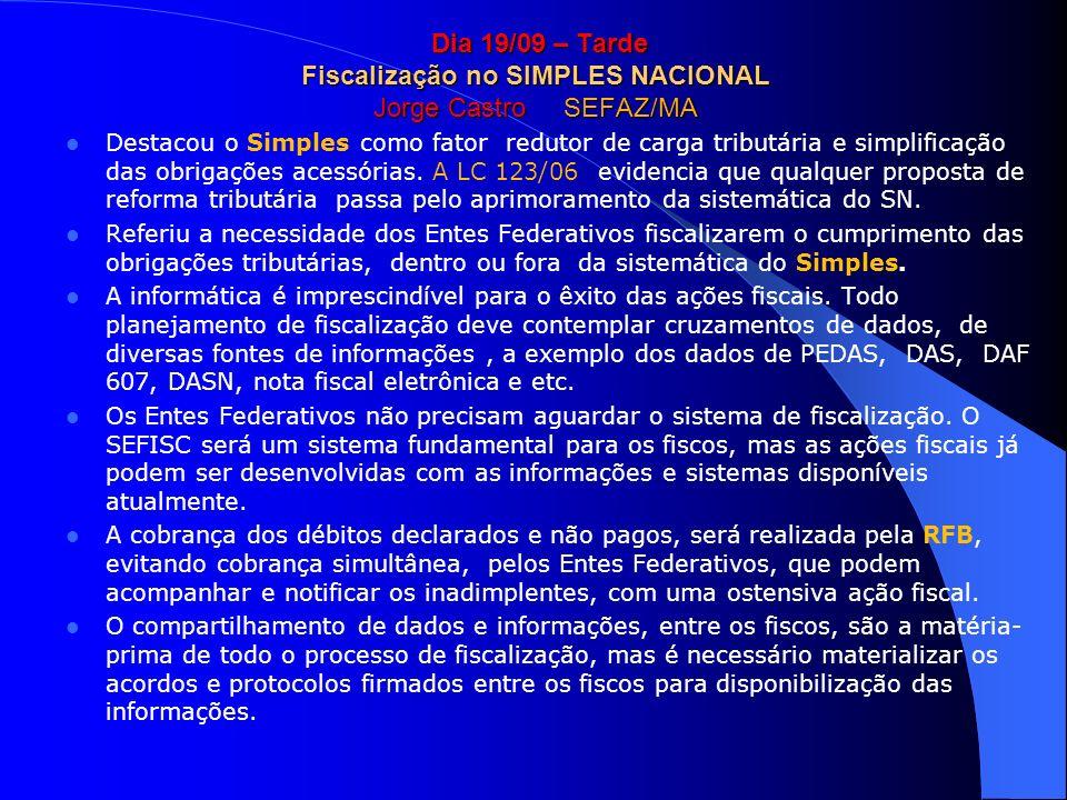 Dia 19/09 – Tarde Fiscalização no SIMPLES NACIONAL Jorge Castro SEFAZ/MA Dia 19/09 – Tarde Fiscalização no SIMPLES NACIONAL Jorge Castro SEFAZ/MA Dest