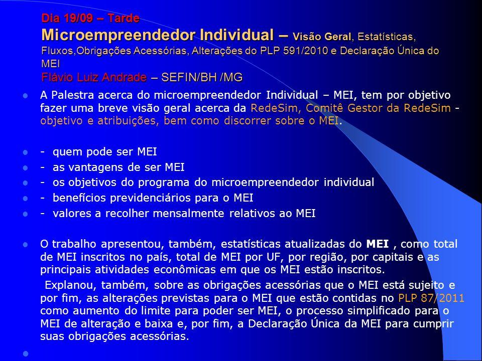 Dia 19/09 – Tarde Microempreendedor Individual – Visão Geral, Estatísticas, Fluxos,Obrigações Acessórias, Alterações do PLP 591/2010 e Declaração Únic
