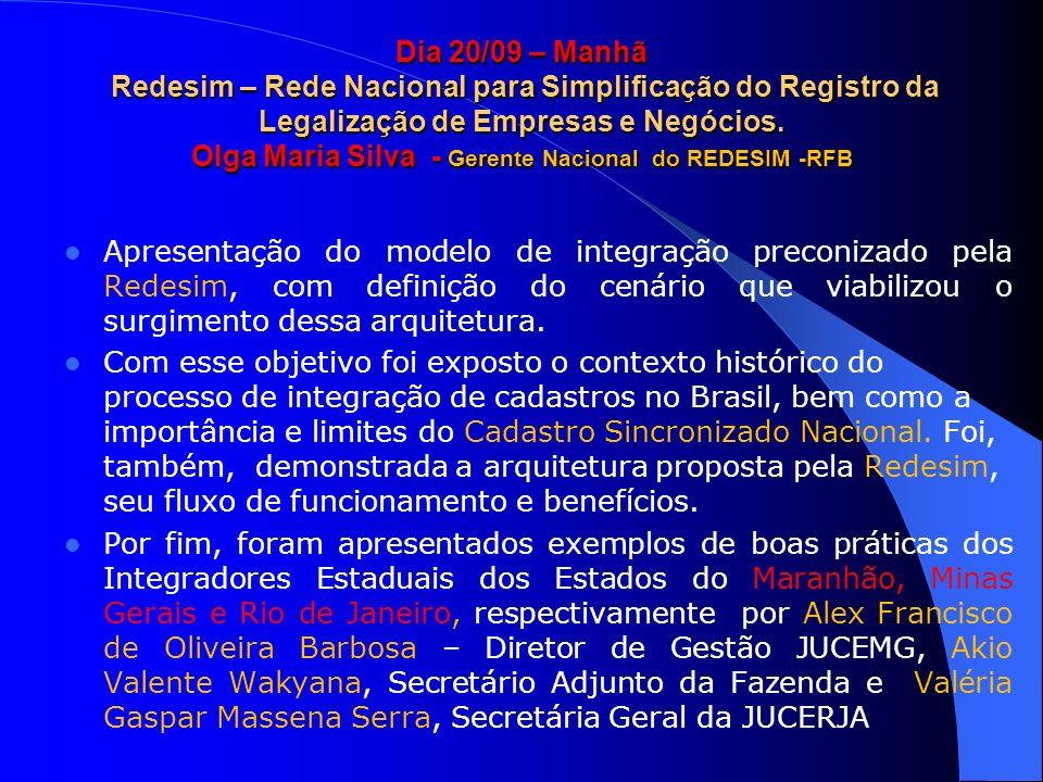 Dia 20/09 – Manhã Redesim – Rede Nacional para Simplificação do Registro da Legalização de Empresas e Negócios. Olga Maria Silva - Gerente Nacional do