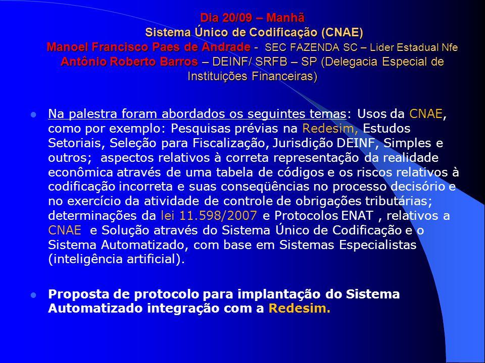 Dia 20/09 – Manhã Sistema Único de Codificação (CNAE) Manoel Francisco Paes de Andrade - SEC FAZENDA SC – Lider Estadual Nfe Antônio Roberto Barros –