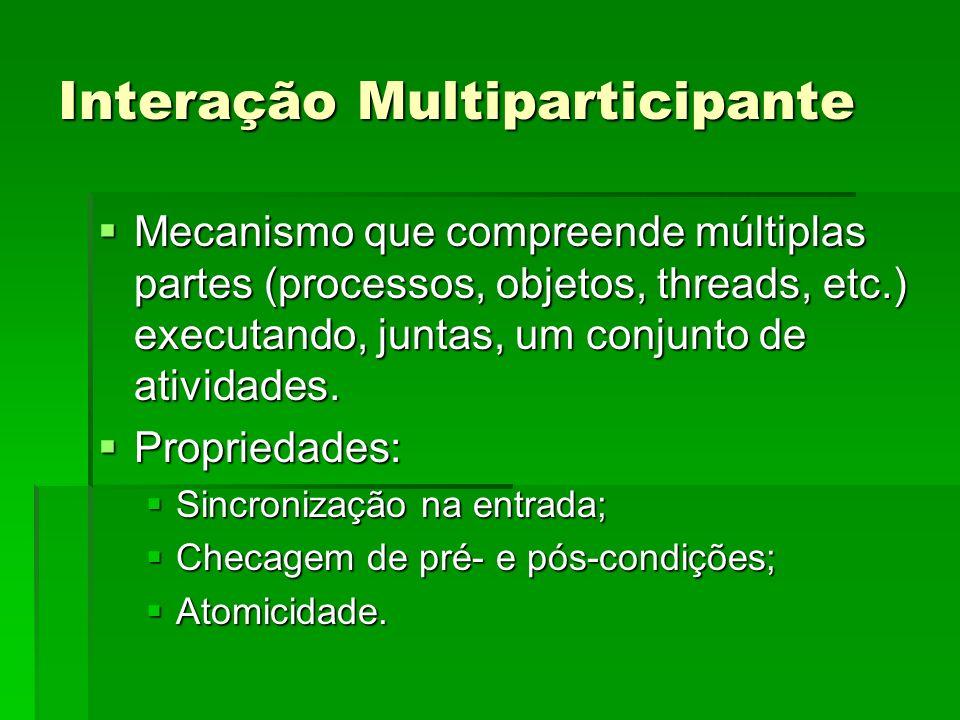 Interação Multiparticipante Mecanismo que compreende múltiplas partes (processos, objetos, threads, etc.) executando, juntas, um conjunto de atividade
