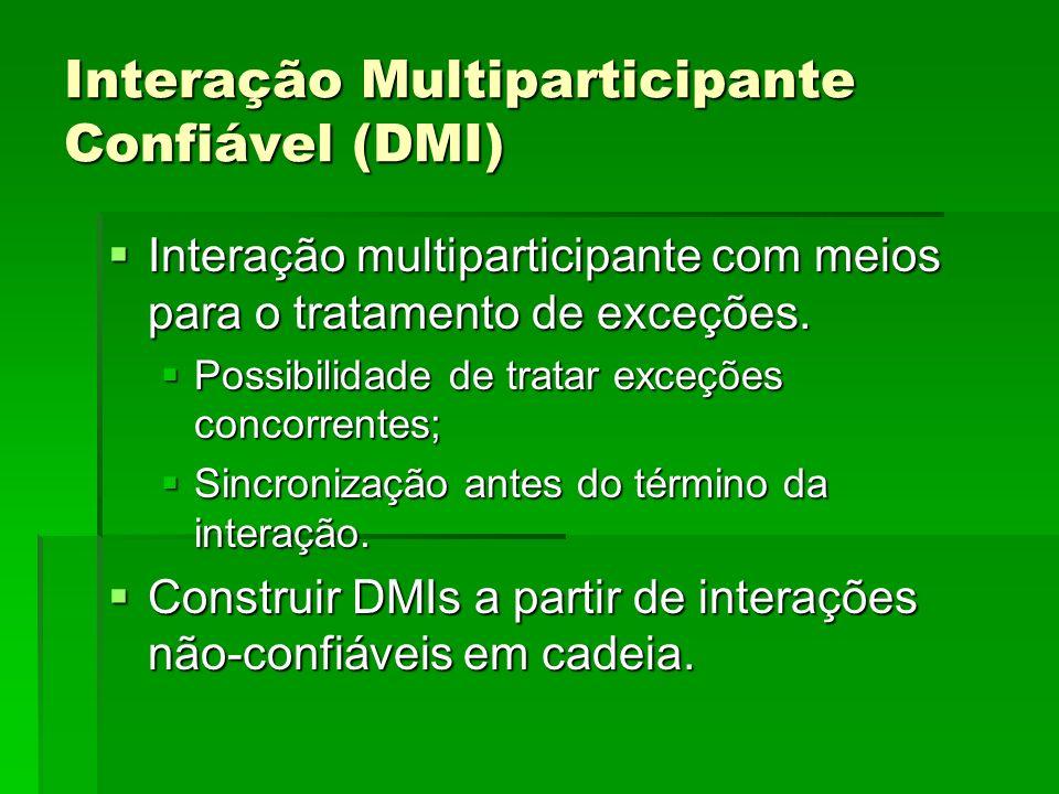 Interação Multiparticipante Confiável (DMI) Interação multiparticipante com meios para o tratamento de exceções. Interação multiparticipante com meios