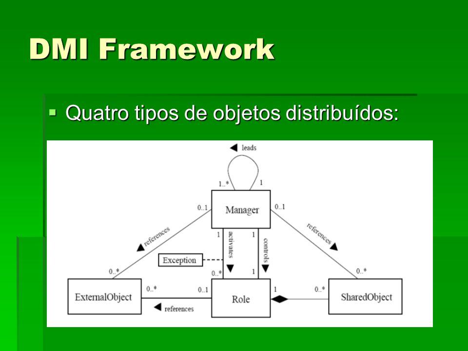 DMI Framework Quatro tipos de objetos distribuídos: Quatro tipos de objetos distribuídos: