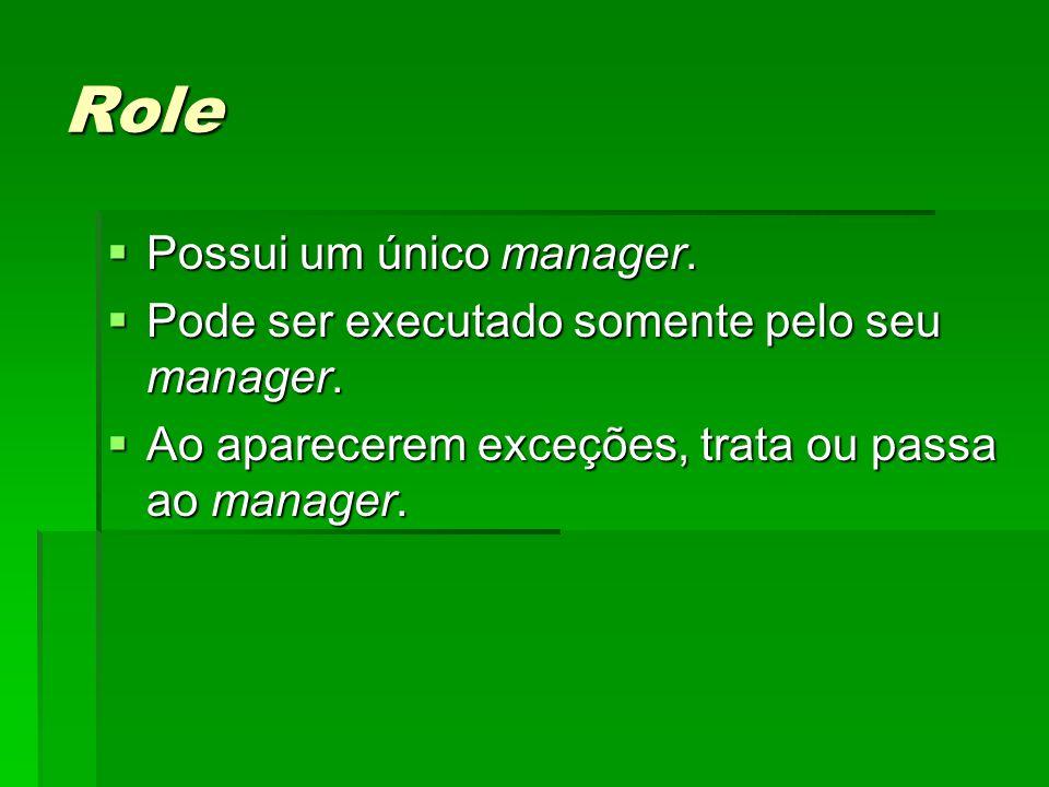 Role Possui um único manager. Possui um único manager. Pode ser executado somente pelo seu manager. Pode ser executado somente pelo seu manager. Ao ap