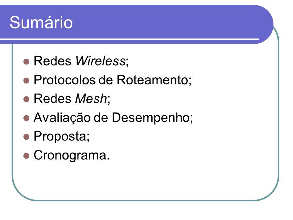 Sumário Redes Wireless; Protocolos de Roteamento; Redes Mesh; Avaliação de Desempenho; Proposta; Cronograma.