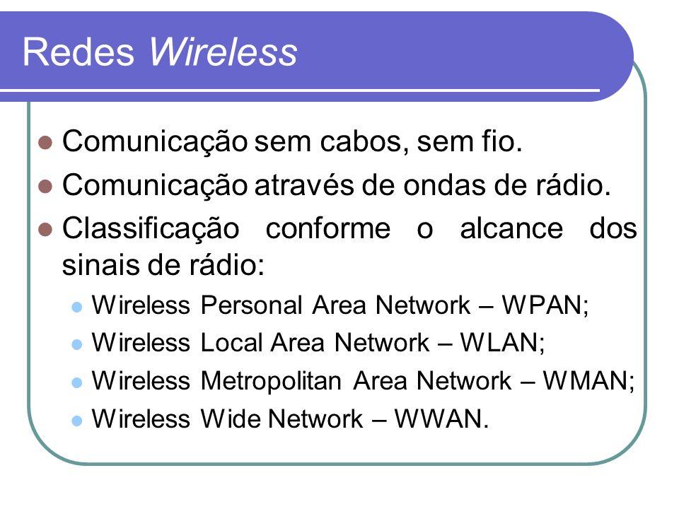 Redes Wireless Comunicação sem cabos, sem fio. Comunicação através de ondas de rádio. Classificação conforme o alcance dos sinais de rádio: Wireless P