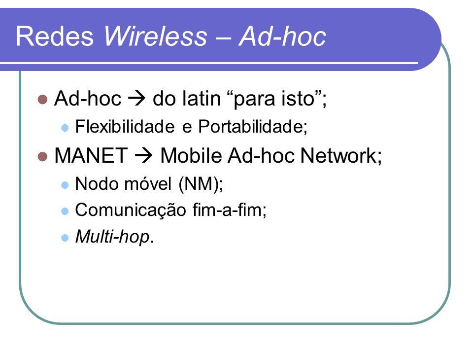 Redes Wireless – Ad-hoc Ad-hoc do latin para isto; Flexibilidade e Portabilidade; MANET Mobile Ad-hoc Network; Nodo móvel (NM); Comunicação fim-a-fim;