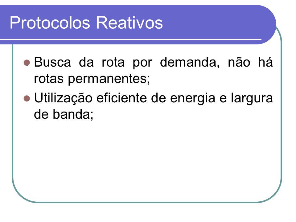 Protocolos Reativos Busca da rota por demanda, não há rotas permanentes; Utilização eficiente de energia e largura de banda;