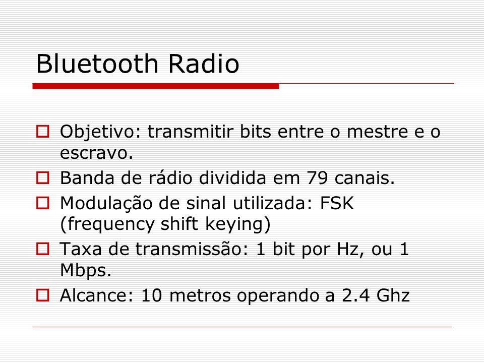 Bluetooth Radio Objetivo: transmitir bits entre o mestre e o escravo. Banda de rádio dividida em 79 canais. Modulação de sinal utilizada: FSK (frequen