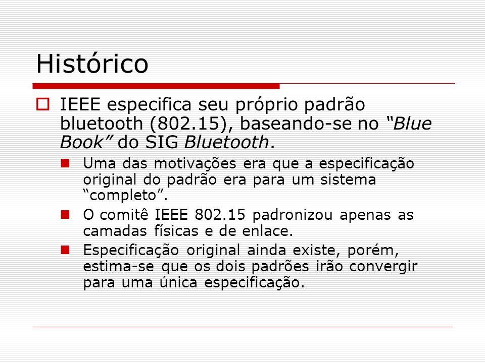 Histórico IEEE especifica seu próprio padrão bluetooth (802.15), baseando-se no Blue Book do SIG Bluetooth. Uma das motivações era que a especificação