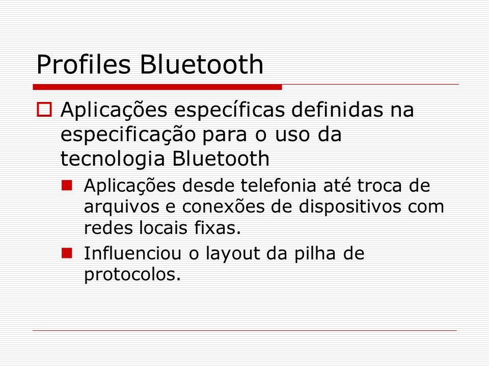 Profiles Bluetooth Aplicações específicas definidas na especificação para o uso da tecnologia Bluetooth Aplicações desde telefonia até troca de arquiv