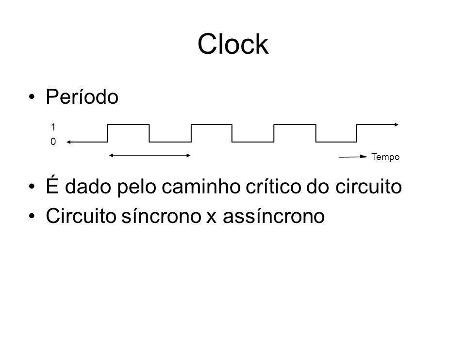 Clock Período É dado pelo caminho crítico do circuito Circuito síncrono x assíncrono 1 0 Tempo
