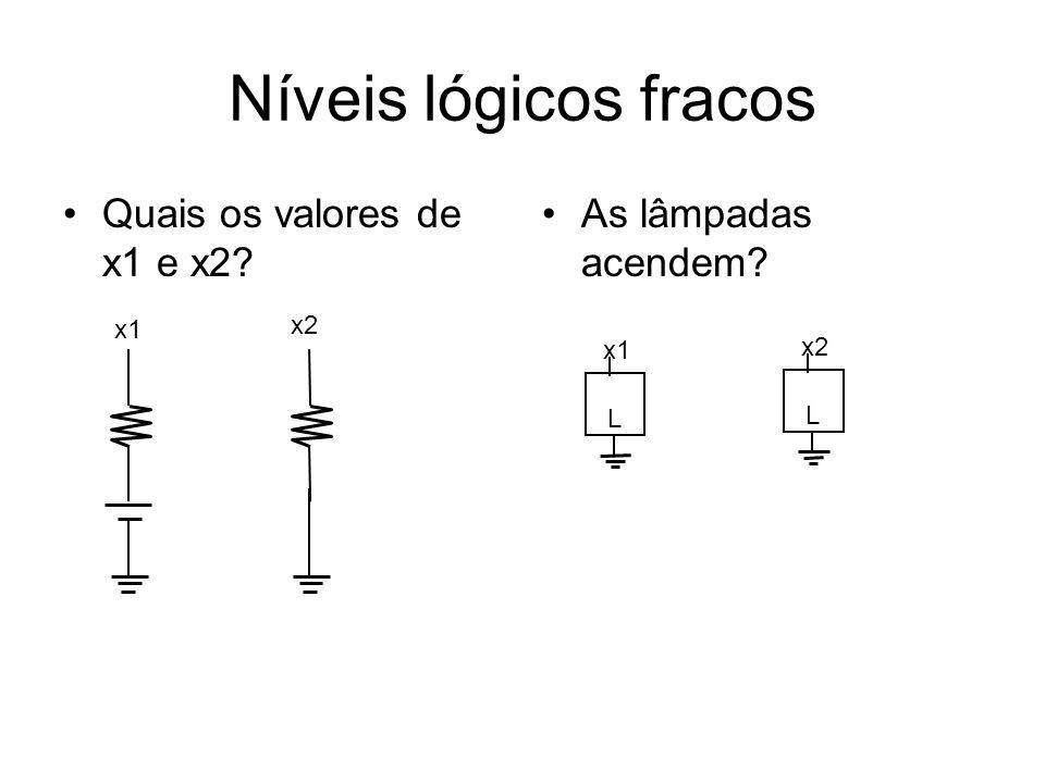 Níveis lógicos fracos Quais os valores de x1 e x2 As lâmpadas acendem x1 x2 L x1 L x2