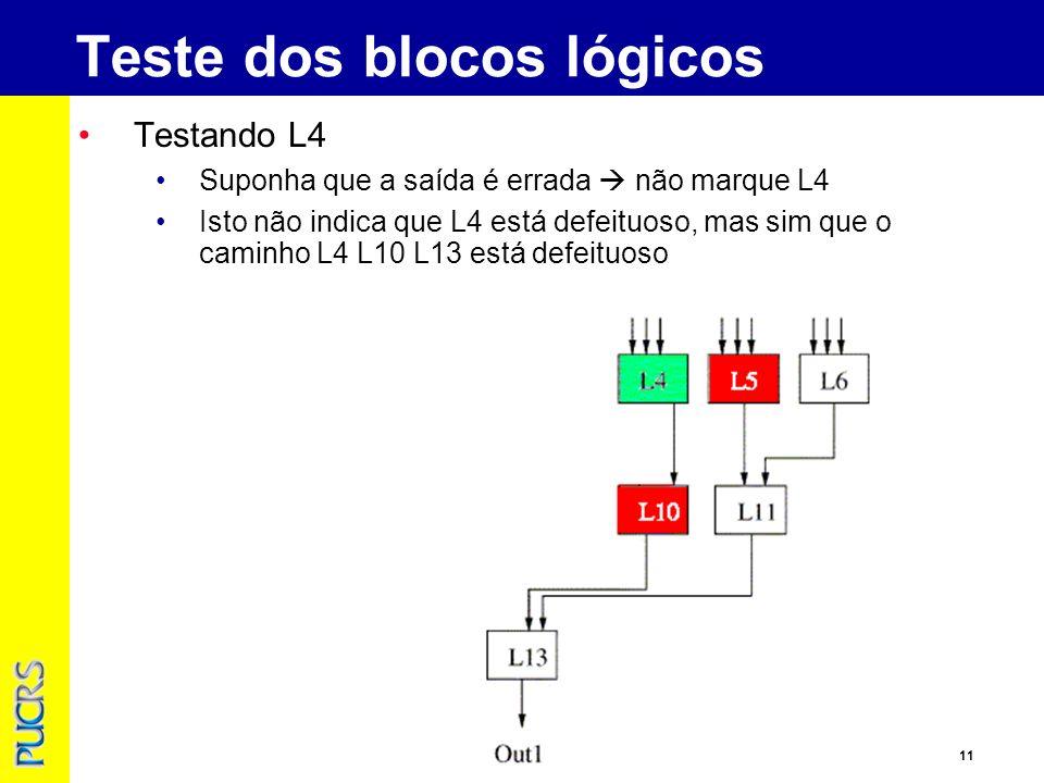 11 Testando L4 Suponha que a saída é errada não marque L4 Isto não indica que L4 está defeituoso, mas sim que o caminho L4 L10 L13 está defeituoso Teste dos blocos lógicos