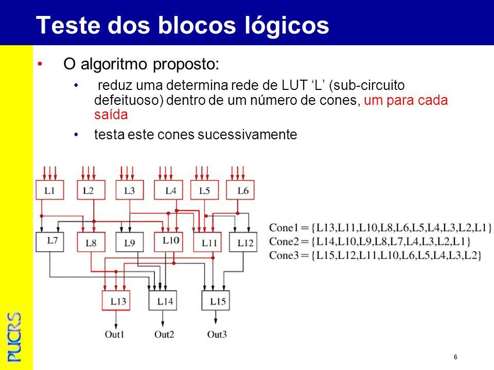 6 Teste dos blocos lógicos O algoritmo proposto: reduz uma determina rede de LUT L (sub-circuito defeituoso) dentro de um número de cones, um para cada saída testa este cones sucessivamente