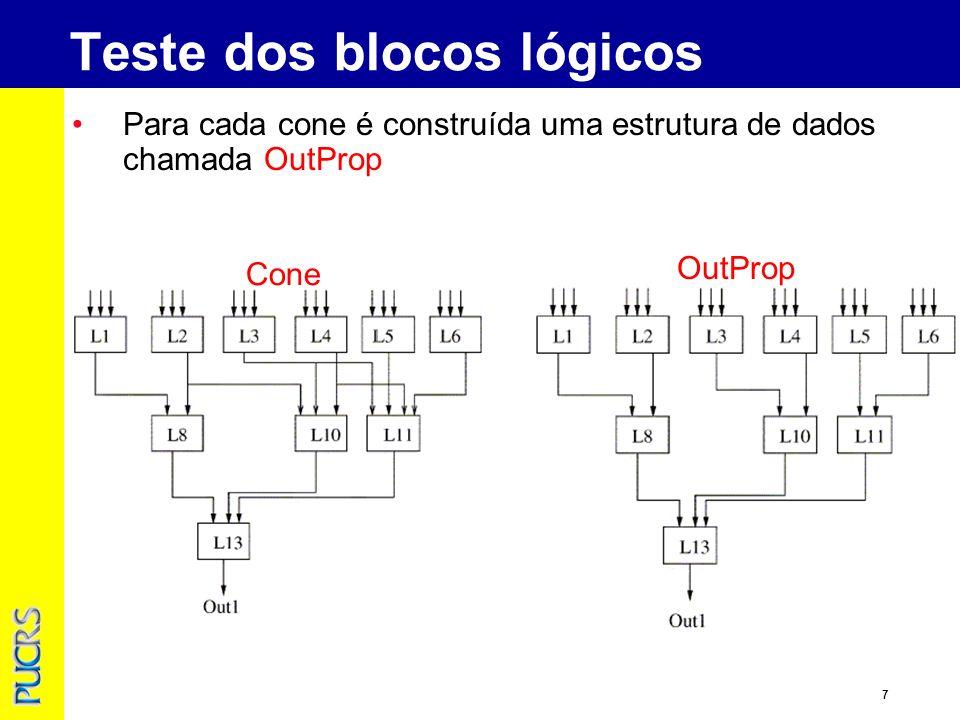8 Testando L1 L8 e L13 são configurados no normal pass mode Se a saída é correta marque L1 como testado e remova da árvore Teste dos blocos lógicos