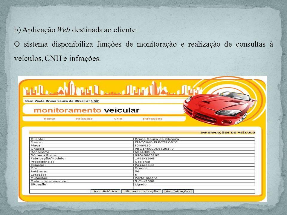 b) Aplicação Web destinada ao cliente: O sistema disponibiliza funções de monitoração e realização de consultas à veículos, CNH e infrações.