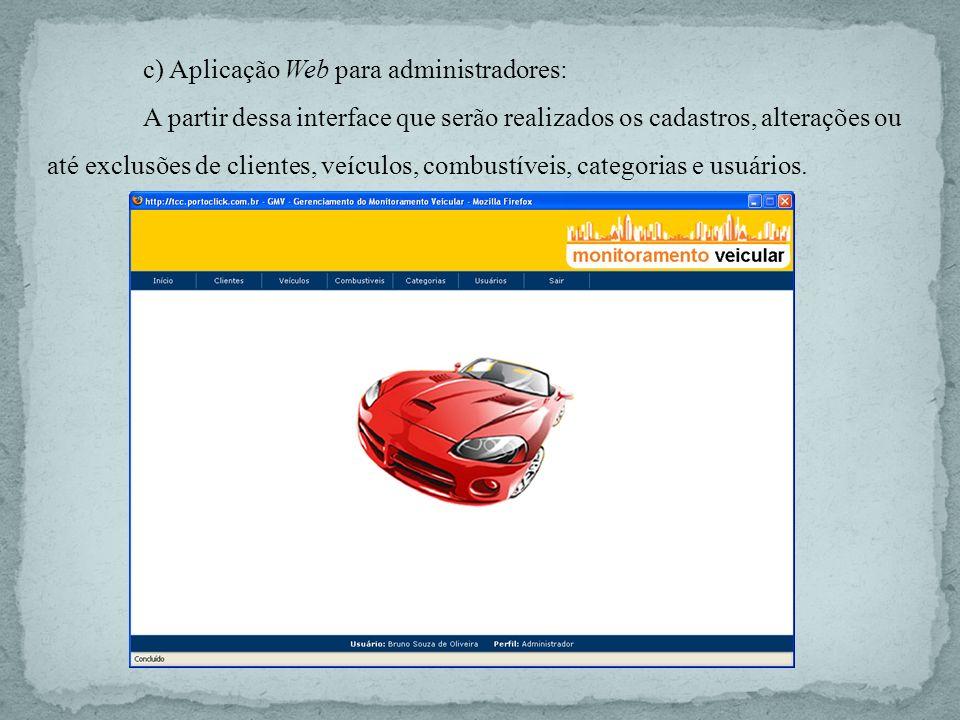 c) Aplicação Web para administradores: A partir dessa interface que serão realizados os cadastros, alterações ou até exclusões de clientes, veículos,