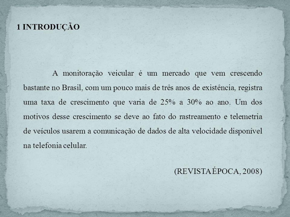 1 INTRODUÇÃO A monitoração veicular é um mercado que vem crescendo bastante no Brasil, com um pouco mais de três anos de existência, registra uma taxa
