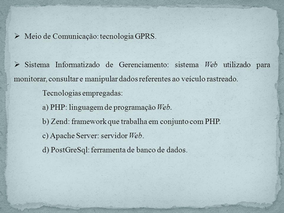 Meio de Comunicação: tecnologia GPRS. Sistema Informatizado de Gerenciamento: sistema Web utilizado para monitorar, consultar e manipular dados refere
