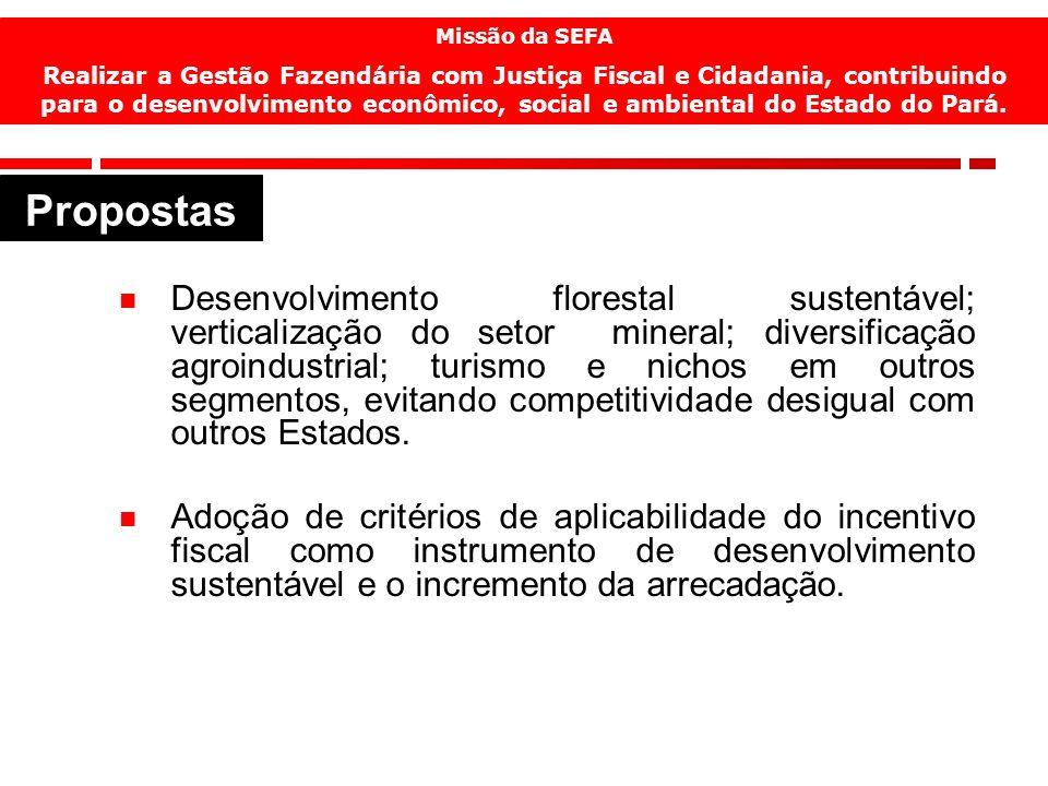 17 Desenvolvimento florestal sustentável; verticalização do setor mineral; diversificação agroindustrial; turismo e nichos em outros segmentos, evitan