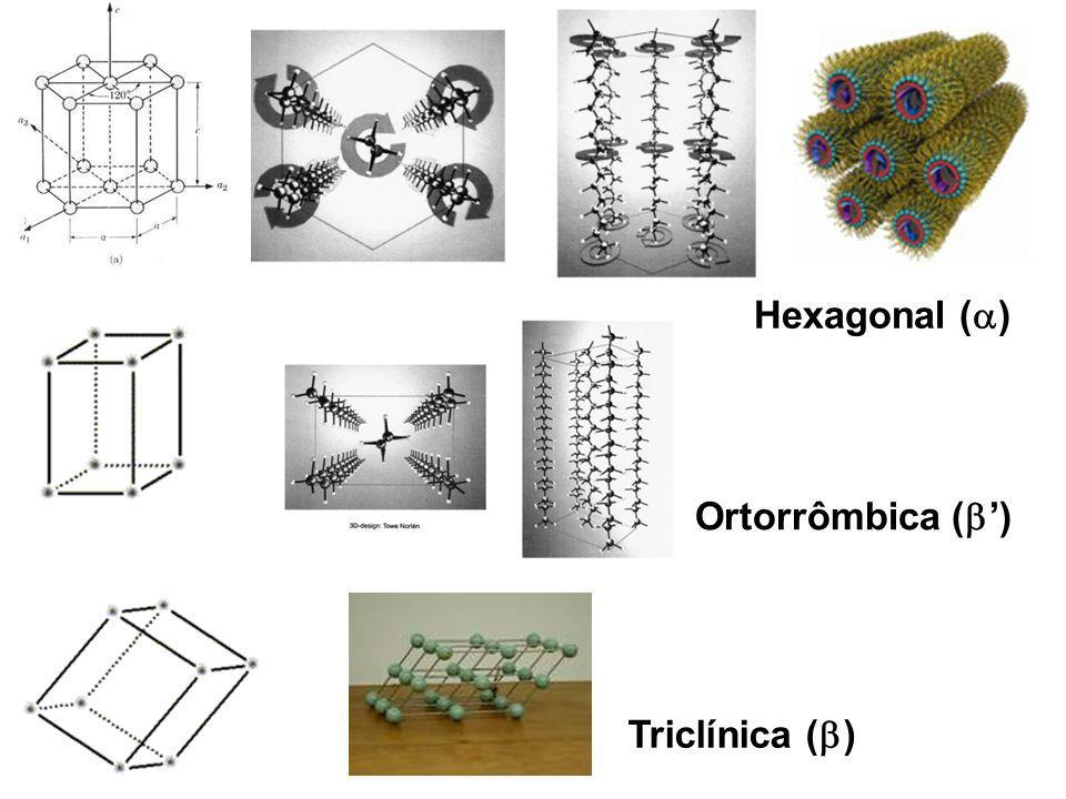 Hexagonal ( ) Ortorrômbica ( ) Triclínica ( )