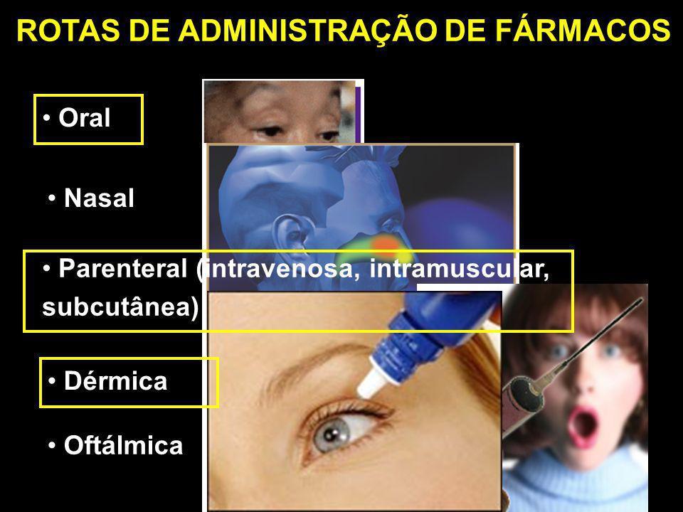 Oral ROTAS DE ADMINISTRAÇÃO DE FÁRMACOS Oftálmica Dérmica Parenteral (intravenosa, intramuscular, subcutânea) Nasal