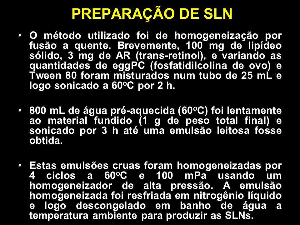 PREPARAÇÃO DE SLN O método utilizado foi de homogeneização por fusão a quente. Brevemente, 100 mg de lipídeo sólido, 3 mg de AR (trans-retinol), e var