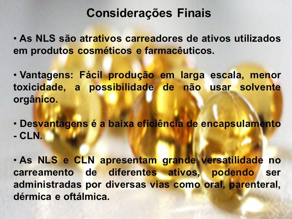 Considerações Finais As NLS são atrativos carreadores de ativos utilizados em produtos cosméticos e farmacêuticos. Vantagens: Fácil produção em larga