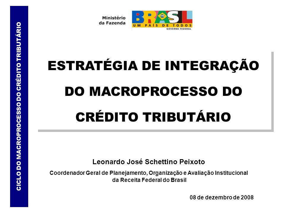 Leonardo José Schettino Peixoto Coordenador Geral de Planejamento, Organização e Avaliação Institucional da Receita Federal do Brasil 08 de dezembro d