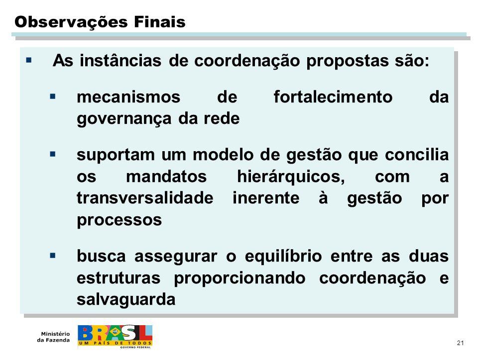 As instâncias de coordenação propostas são: mecanismos de fortalecimento da governança da rede suportam um modelo de gestão que concilia os mandatos h