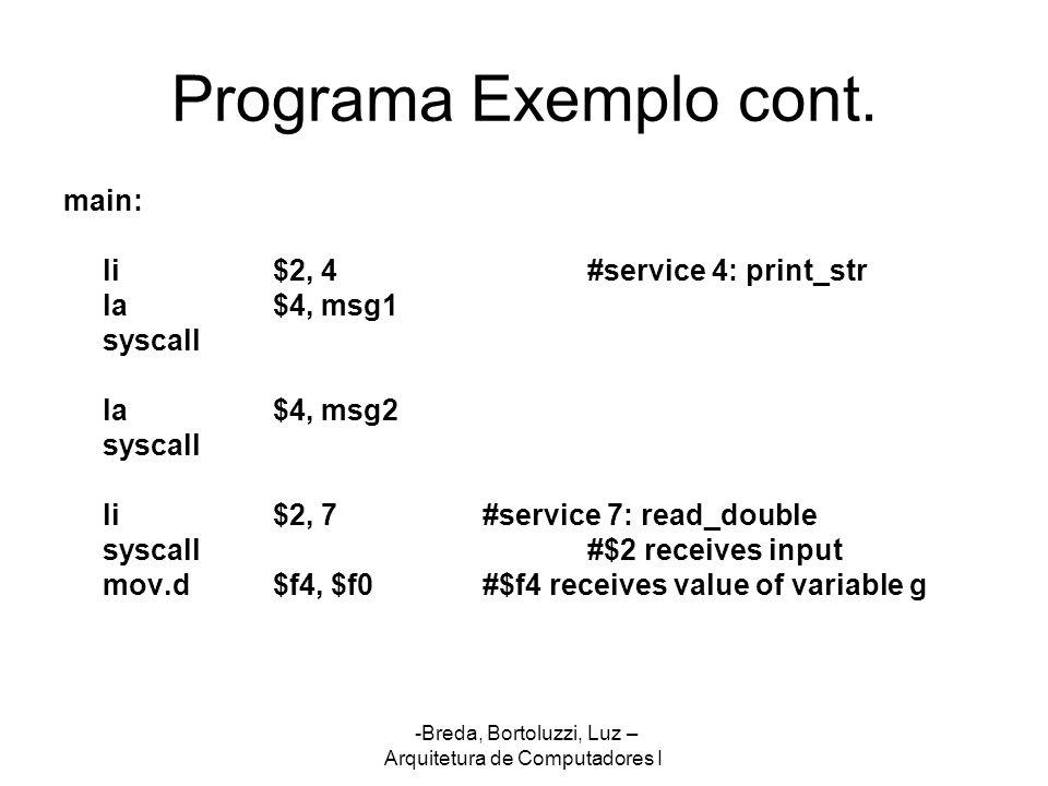 -Breda, Bortoluzzi, Luz – Arquitetura de Computadores I Programa Exemplo cont. main: li$2, 4#service 4: print_str la$4, msg1 syscall la$4, msg2 syscal
