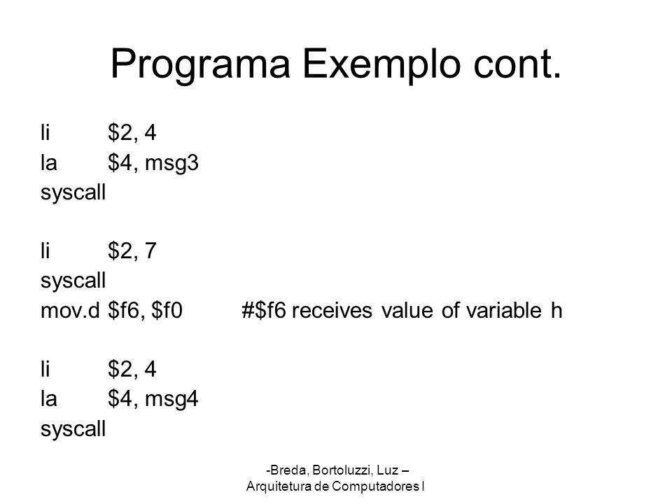 -Breda, Bortoluzzi, Luz – Arquitetura de Computadores I Programa Exemplo cont. li$2, 4 la$4, msg3 syscall li$2, 7 syscall mov.d$f6, $f0#$f6 receives v