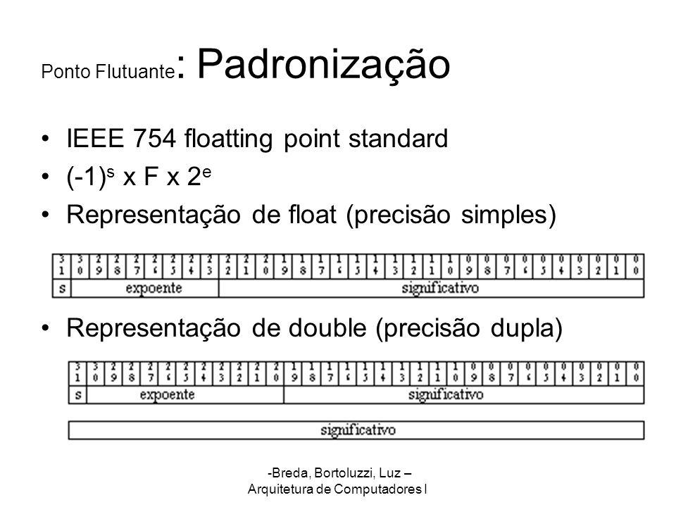 -Breda, Bortoluzzi, Luz – Arquitetura de Computadores I Ponto Flutuante : Padronização IEEE 754 floatting point standard (-1) s x F x 2 e Representaçã